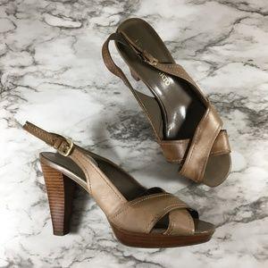 Franco Sarto Peep Toe Sling Back Sandal Heels